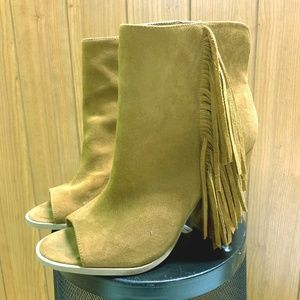 DV by Dolce Vita Fringe Saddle Peep Toe Ankle Boot